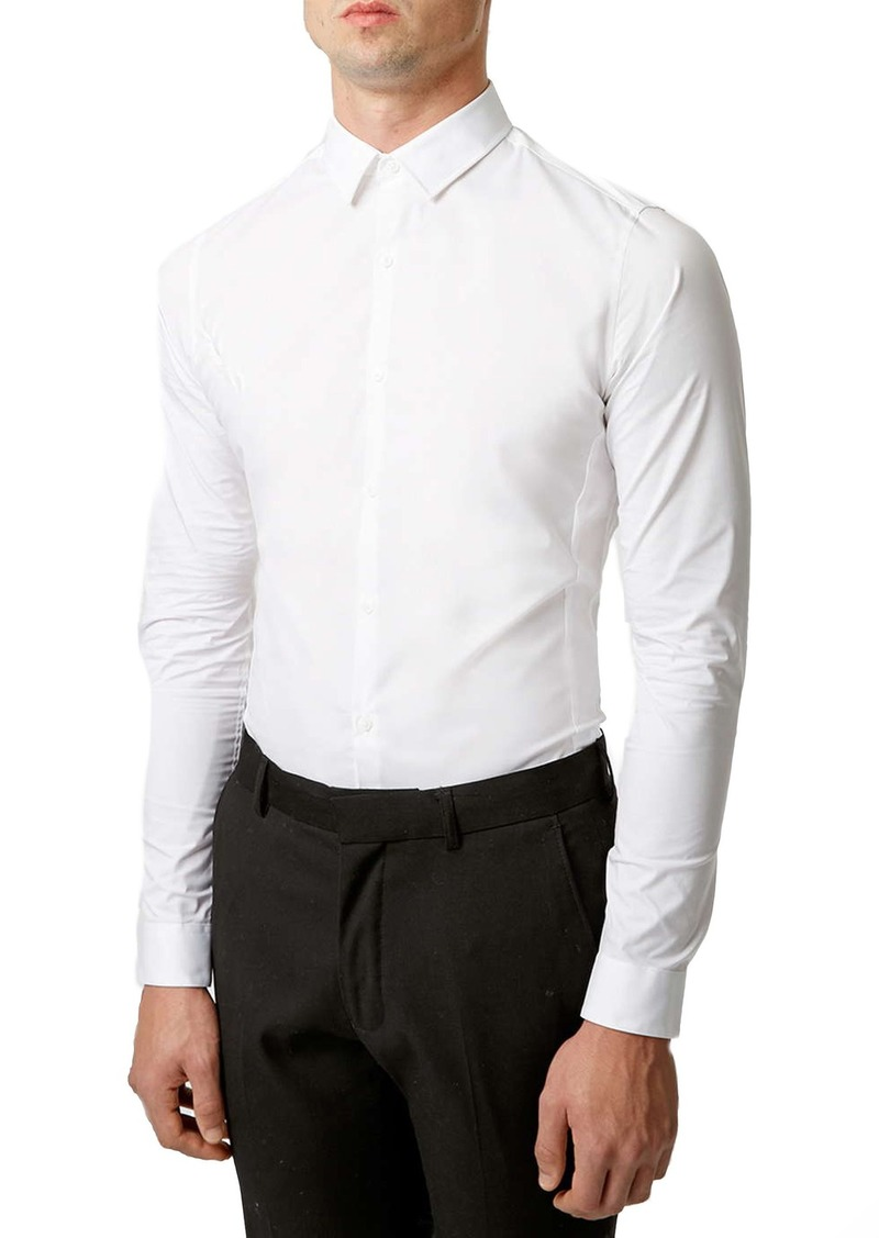 Topman Stretch Skinny Fit Woven Shirt