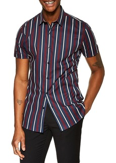 Topman Stretch Skinny Fit Stripe Shirt