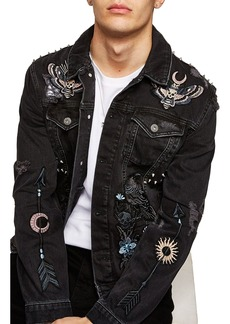 Topman Sleepy Hollow Slim Fit Denim Jacket with Patches