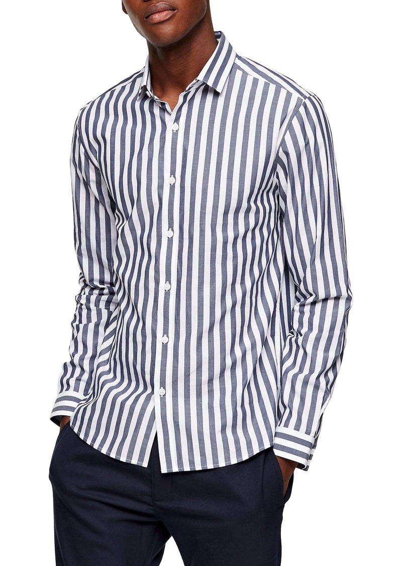 Topman Slim Fit Bengal Stripe Button-Up Shirt