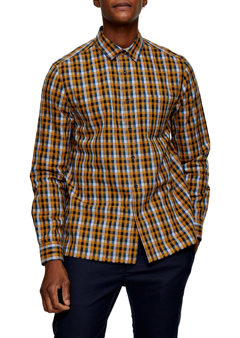 Topman Slim Fit Button-Up Flannel Shirt