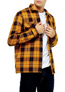 Topman Slim Fit Button-Up Plaid Twill Shirt Jacket