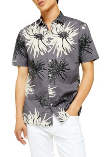 Topman Slim Fit Chrysanthemum Print Short Sleeve Button-Up Shirt