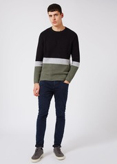 Topman Slim Fit Colorblock Crewneck Sweater
