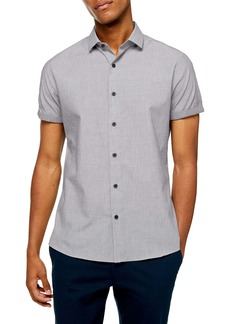 Topman Slim Fit Contrast Cuff Short Sleeve Button-Up Shirt