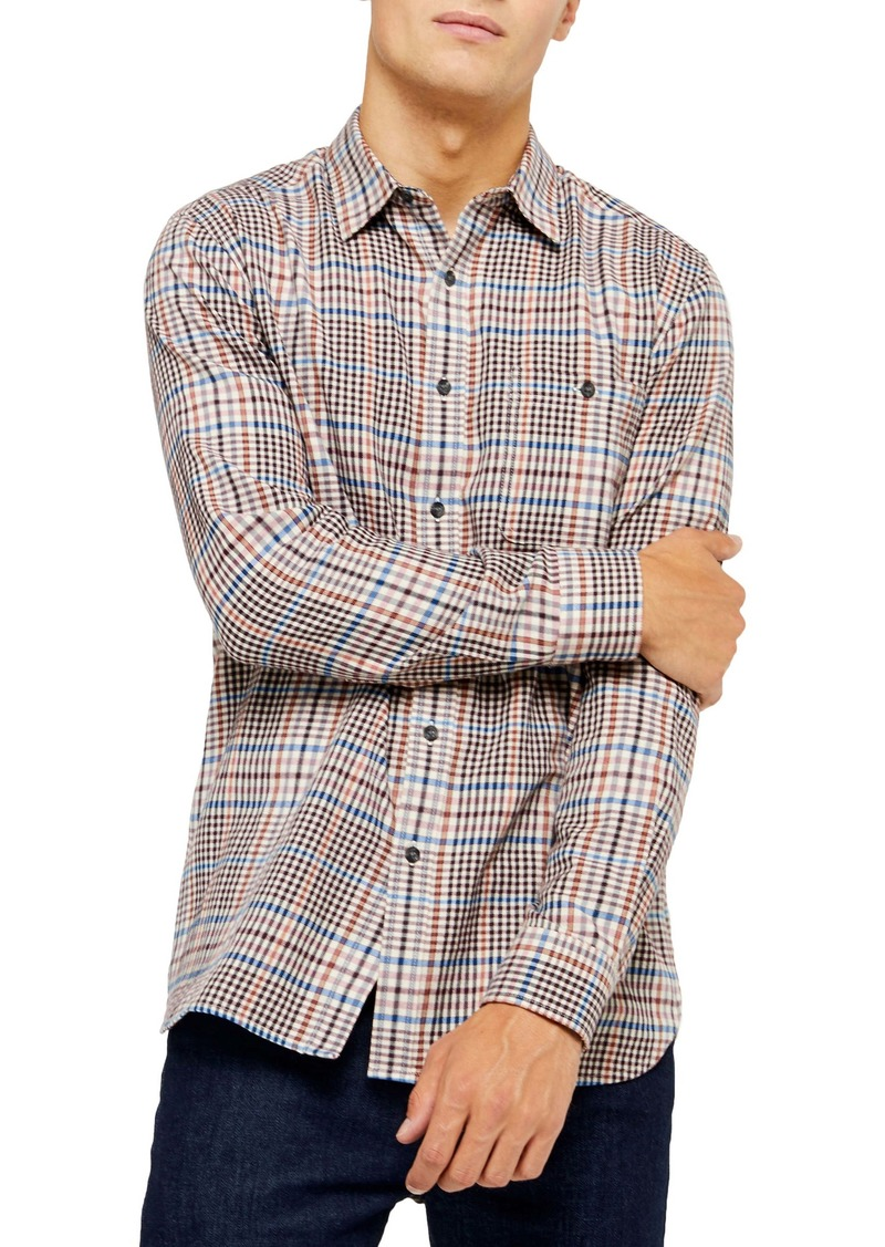 Topman Slim Fit Dogtooth Check Button-Up Shirt