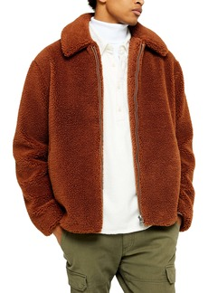 Topman Slim Fit Faux Shearling Teddy Coat