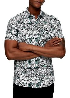 Topman Slim Fit Floral Print Short Sleeve Button-Up Shirt