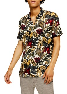 Topman Slim Fit Floral Short Sleeve Button-Up Shirt