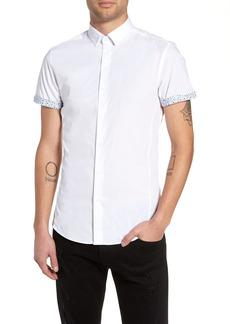 Topman Slim Fit Flower Cuff Shirt