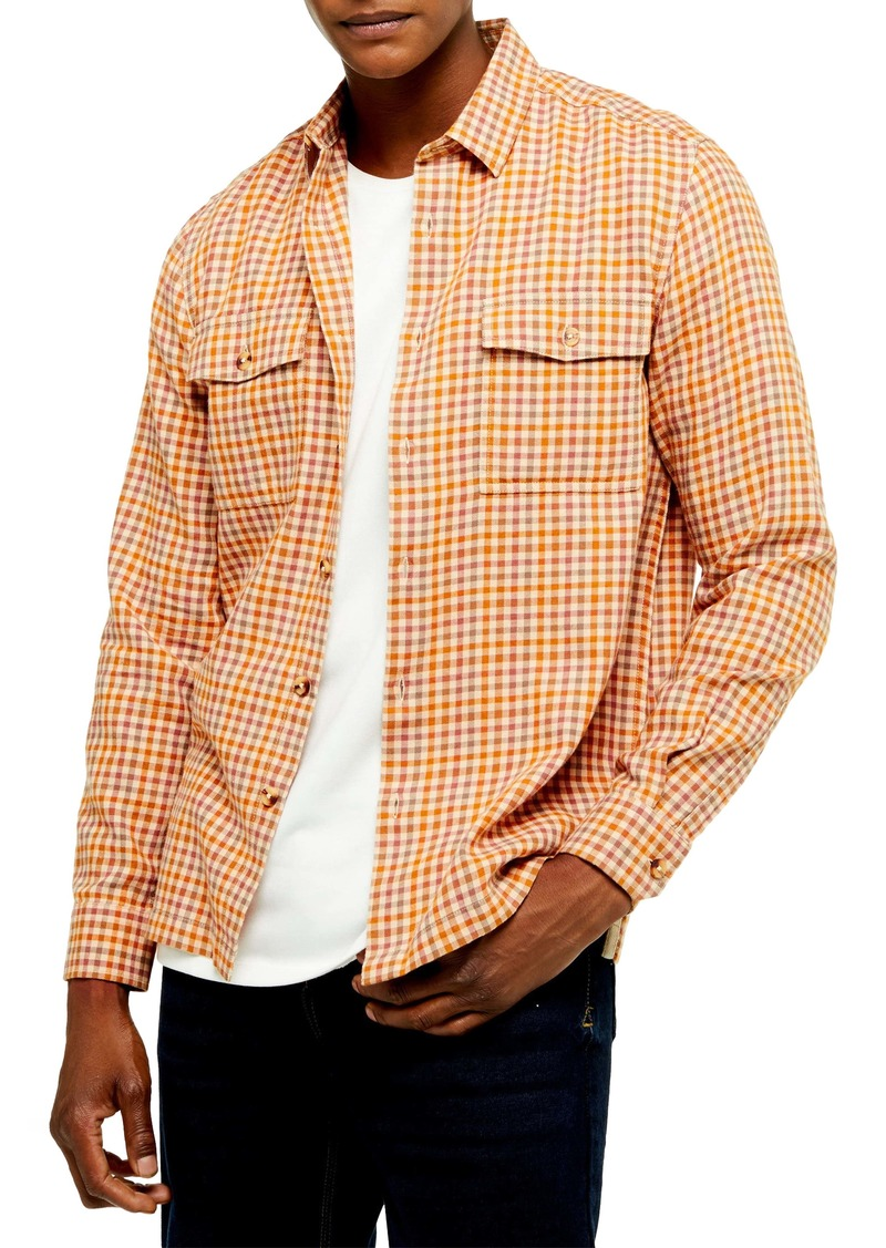 Topman Slim Fit Gingham Flannel Button-Up Shirt