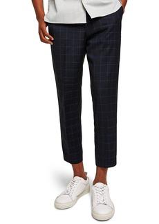 Topman Slim Fit Grid Check Crop Pants