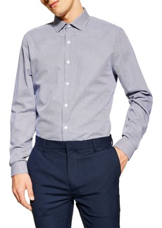 Topman Stretch Skinny Fit Grid Texture Shirt
