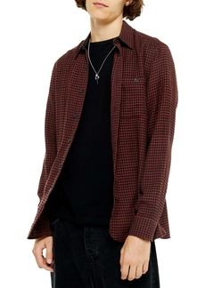 Topman Slim Fit Houndstooth Button-Up Flannel Shirt
