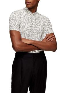 Topman Slim Fit Leaf Print Short Sleeve Button-Up Shirt