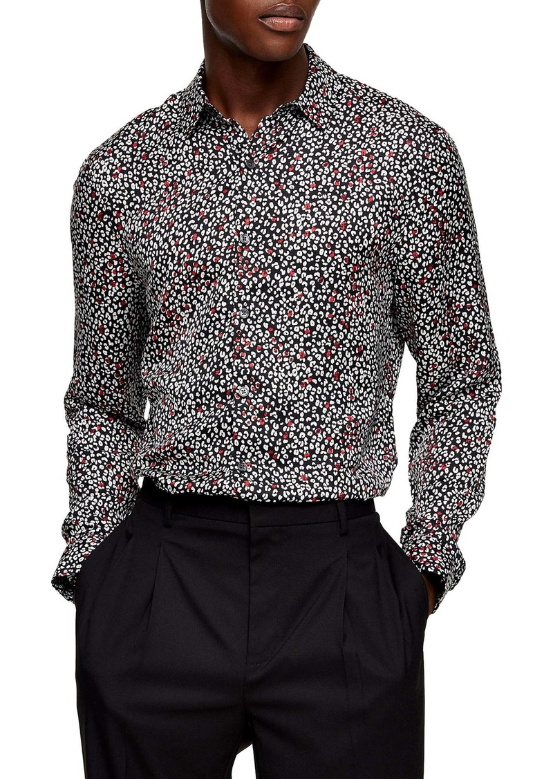 Topman Slim Fit Leopard Button-Up Shirt