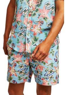 Topman Slim Fit Orchid Print Shorts