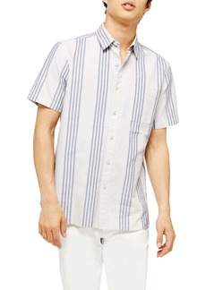 Topman Slim Fit Oxford Stripe Short Sleeve Button-Up Shirt