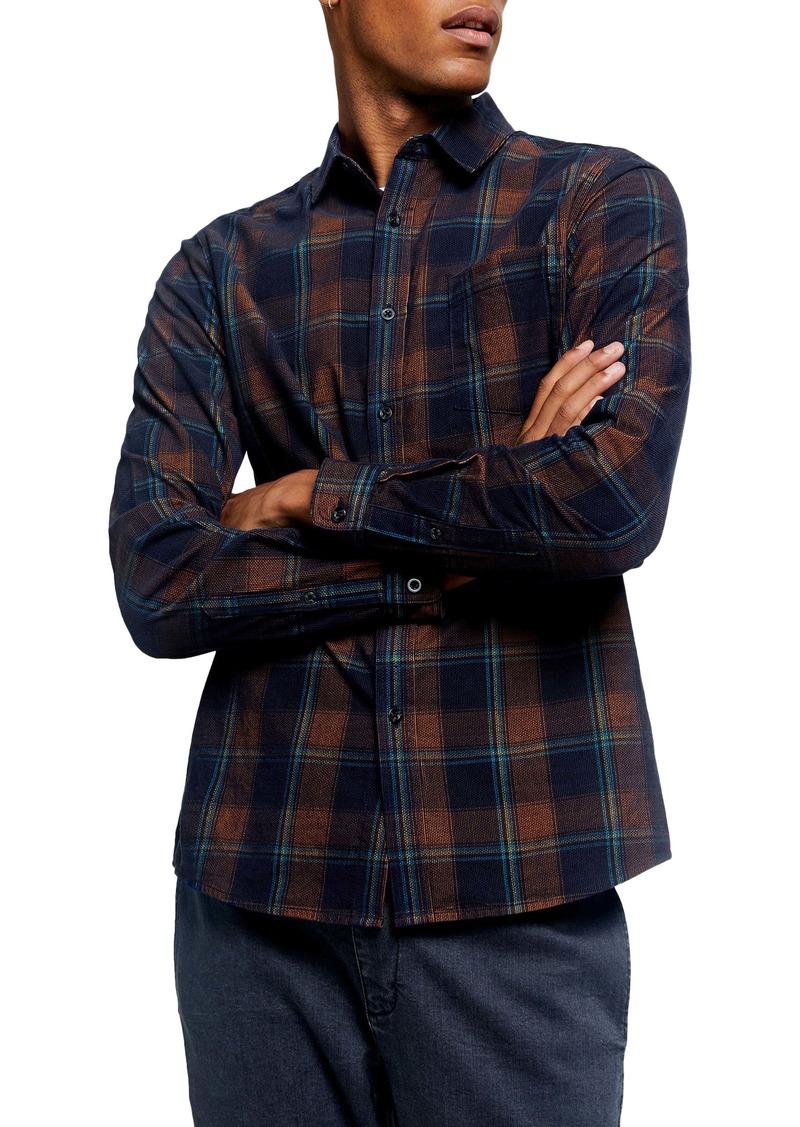 Topman Slim Fit Plaid Button-Up Shirt