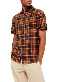 Topman Slim Fit Plaid Short Sleeve Button-Up Shirt