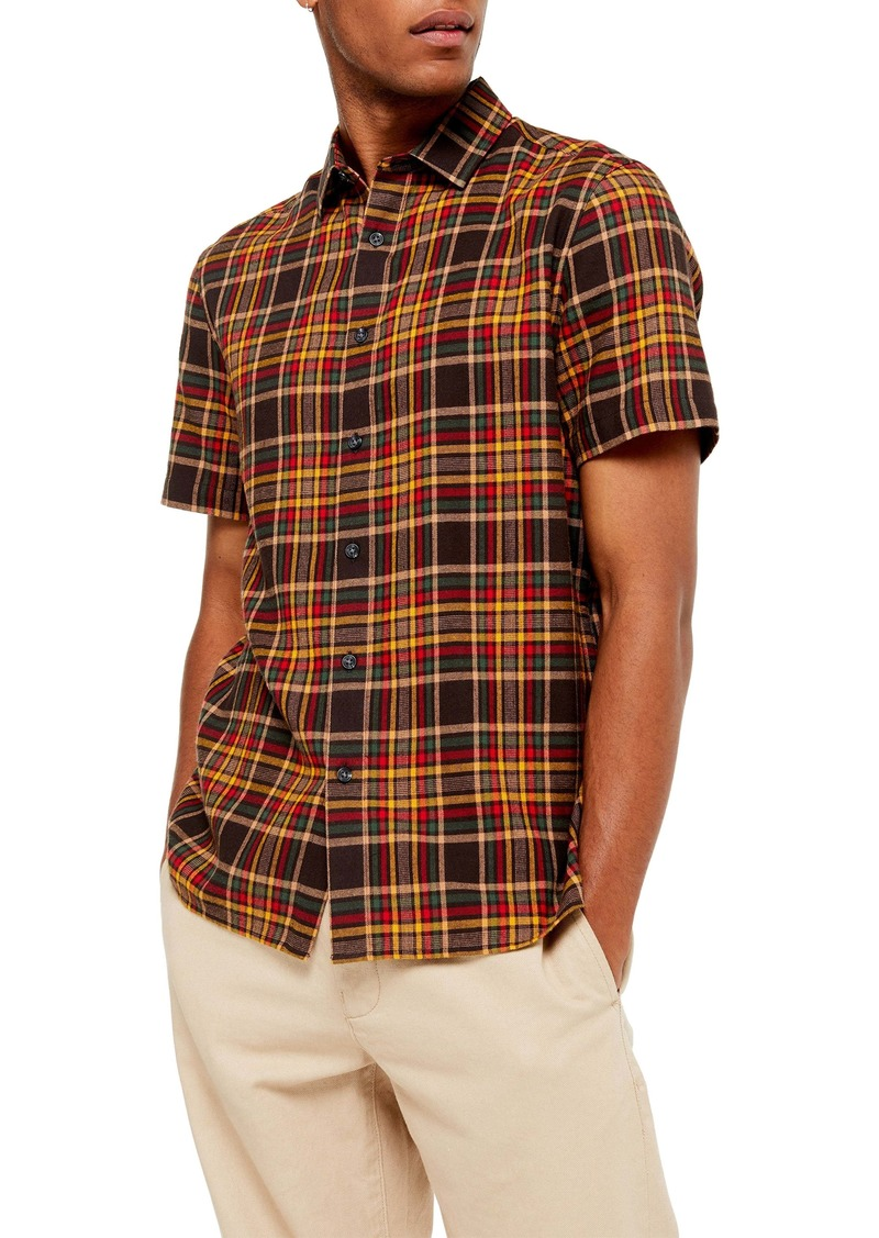 Topman Slim Fit Plaid Short Sleeve Button-Up Shirt
