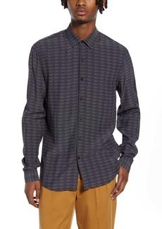 Topman Slim Fit Premium Dot Long Sleeve Button-Up Shirt