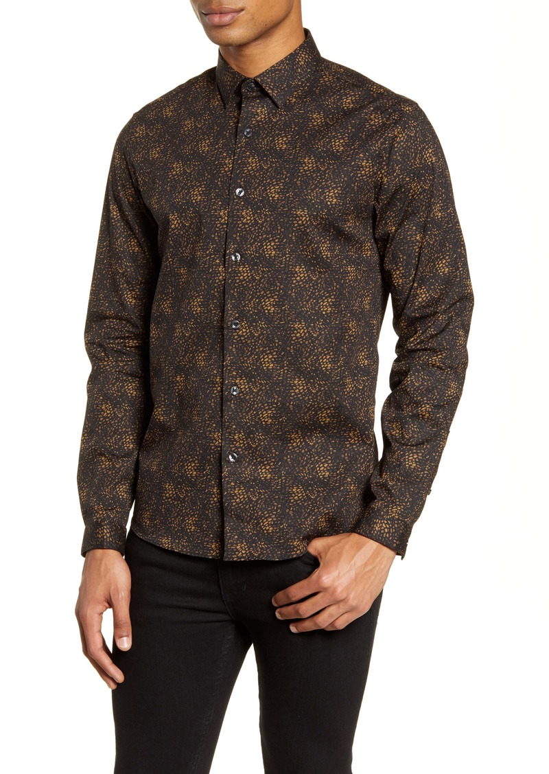 Topman Slim Fit Print Button-Up Shirt