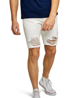 Topman Slim Fit Ripped Denim Shorts