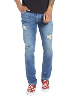 Topman Slim Fit Ripped Marbled Jeans