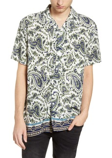 Topman Slim Fit Short Sleeve Button-Up Camp Shirt