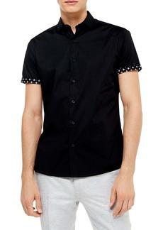 Topman Slim Fit Short Sleeve Button-Up Shirt