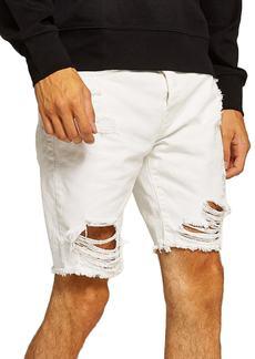 Topman Slim Fit Shredded Jean Shorts (White)