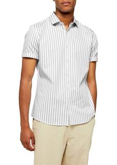 Topman Slim Fit Smart Stripe Short Sleeve Button-Up Shirt