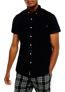 Topman Slim Fit Solid Short Sleeve Button-Down Shirt