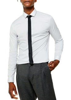 Topman Slim Fit Stretch Solid Button-Up Shirt