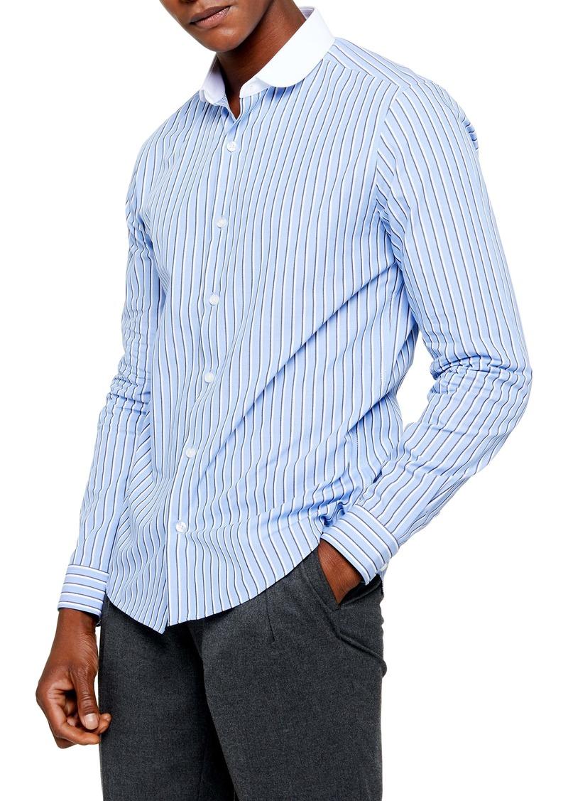 Topman Slim Fit Stripe Button-Up Shirt