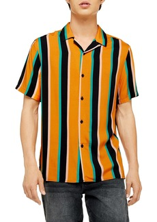 Topman Slim Fit Stripe Short Sleeve Button-Up Camp Shirt