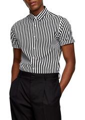 Topman Slim Fit Stripe Short Sleeve Button-Up Shirt
