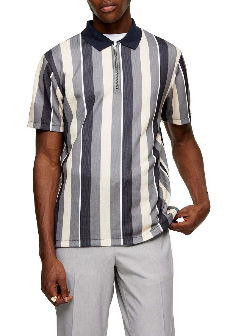 Topman Slim Fit Stripe Zip Polo