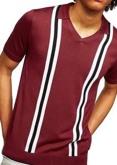 Topman Slim Fit Striped V-Neck Polo