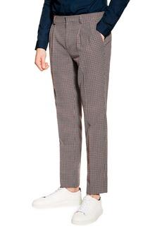 Topman Slim Fit Textured Check Dress Pants