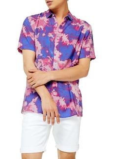 Topman Slim Fit Tie Dye Short Sleeve Button-Up Shirt