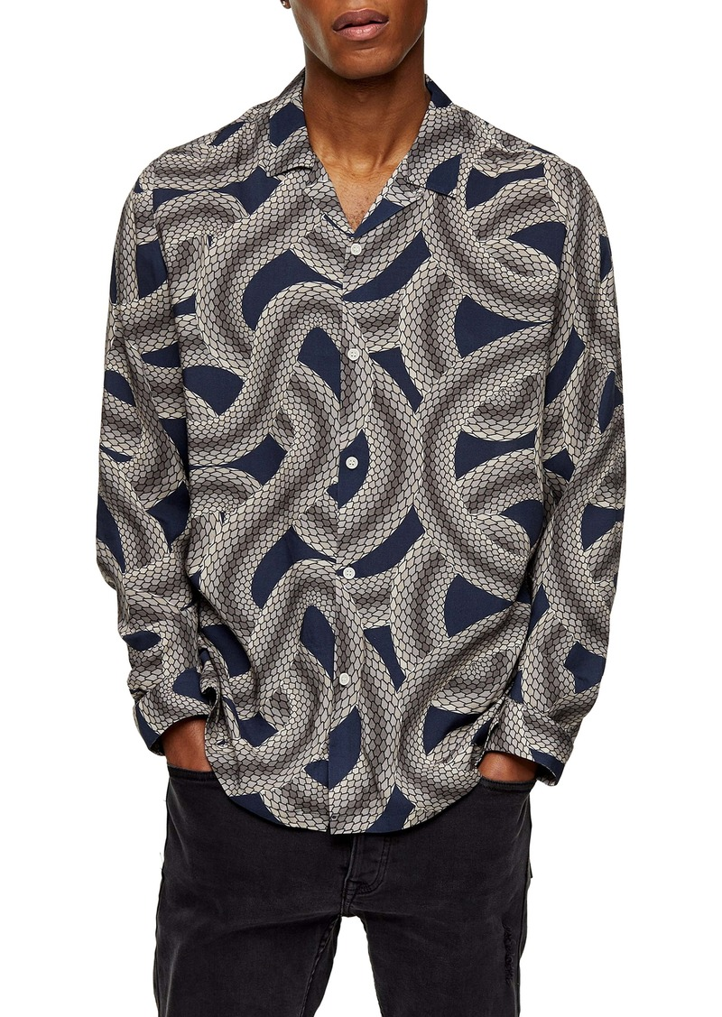 Topman Snake Print Longline Button-Up Camp Shirt
