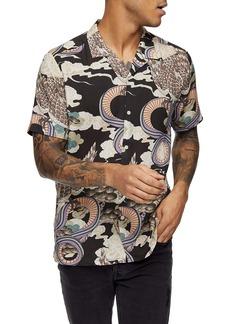 Topman Snake Print Short Sleeve Button-Up Shirt