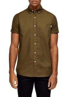 Topman Solid Short Sleeve Button-Down Shirt