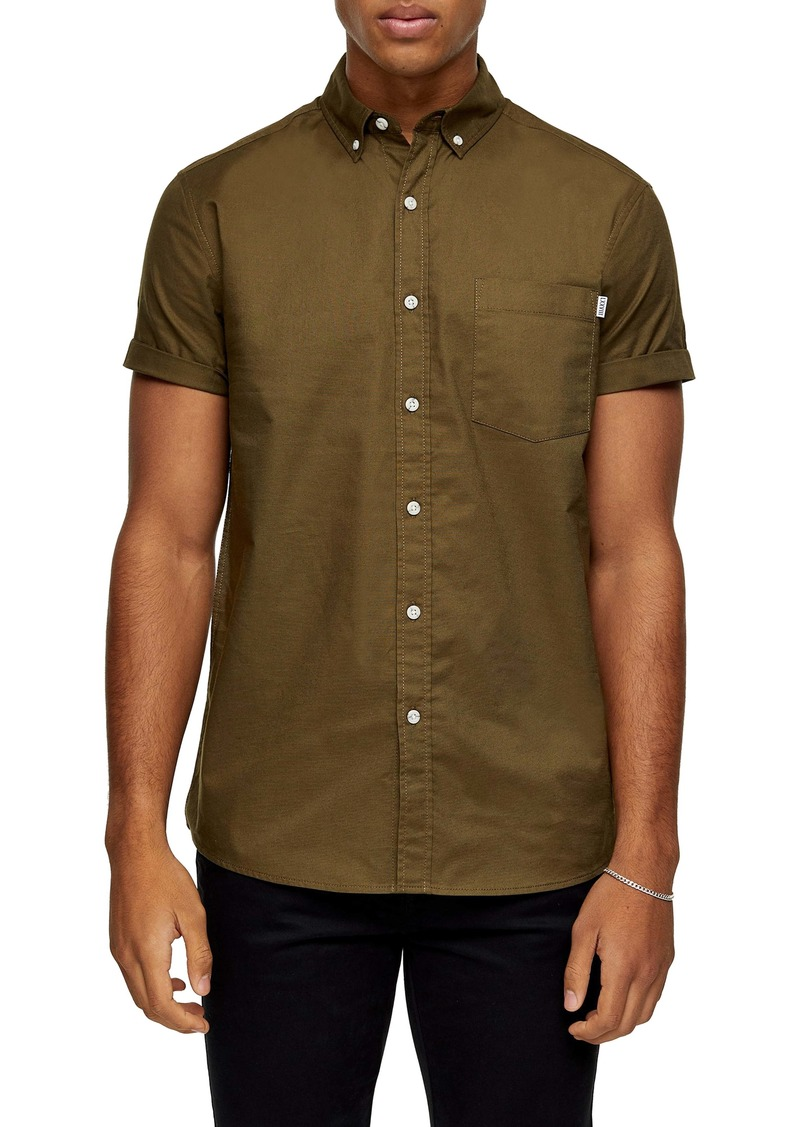 Topman Solid Short Sleeve Button-Down Shirt