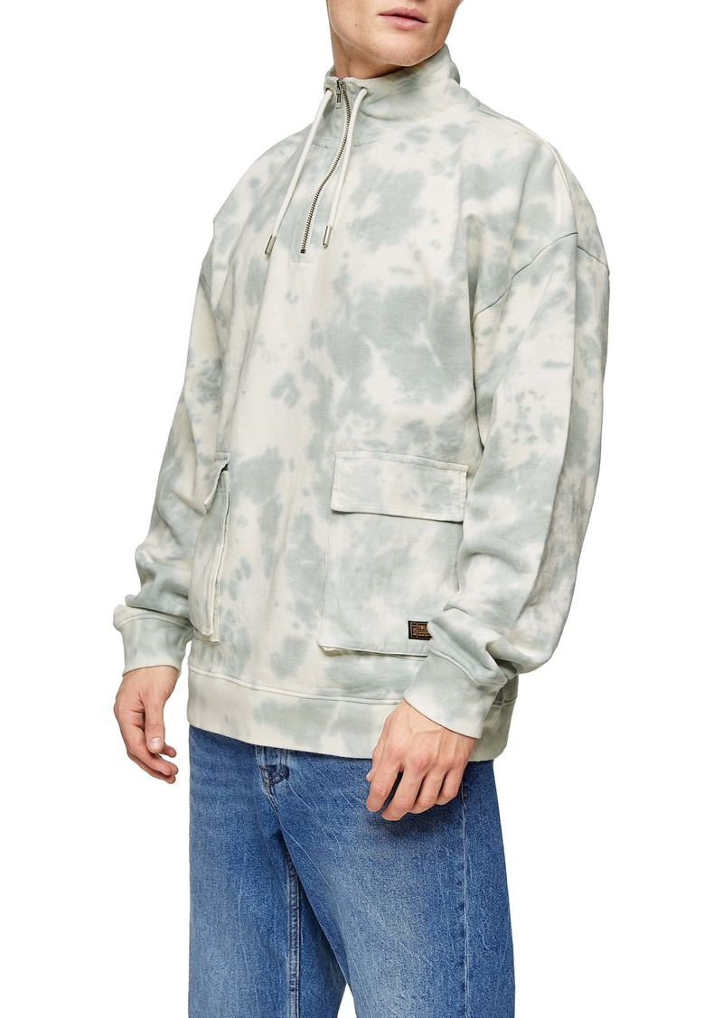 Topman Splash Dye Quarter Zip Pullover