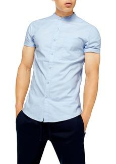 Topman Stand Collar Skinny Short Sleeve Button-Up Shirt