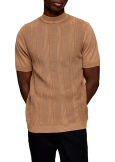 Topman Stitch Mock Neck Short Sleeve Sweater