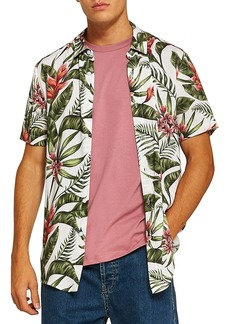 Topman Stone Tropical Floral Woven Shirt